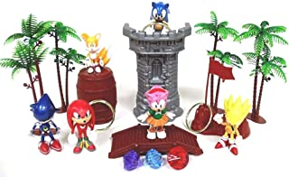 SONIC 18 Piece Play Set Featuring Random Sonic Figures and Accessories - May Include Super Sonic, Amy Rose, Miles, Tails Prower, Sonic, Metal Sonic and Knuckles