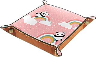 Vockgeng Arc en Ciel de Panda Boîte de Rangement Panier Organisateur de Bureau Plateau décoratif approprié pour Bureau à D...