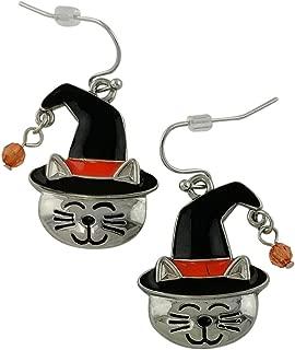 Cat Face in the Halloween Hat Earrings   Seasonal Girls Drop Dangle Silver Plated Studs