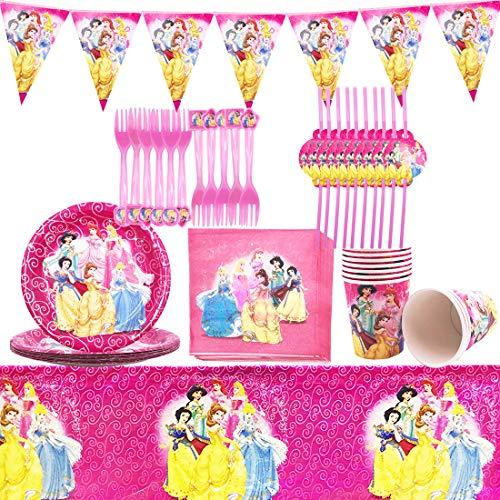 Vajilla de Cumpleaños - YUESEN Kit de Artículos para Fiesta Cumpleaños Infantil Vajilla de Fiesta TemÁTica de Disney Plato Taza Servilleta Tenedor Mantel Banderín,Tenedores- 10 Invitados