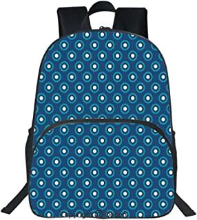 Oobon Kids Toddler School Waterproof 3D Cartoon Backpack, Circles with White Polka Dots Ancestral Folk Evil Eye Style Tile, Fits 14 Inch Laptop