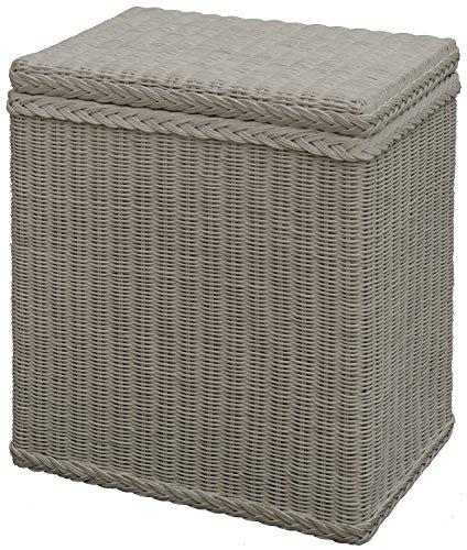 korb.outlet Wäschekorb/Wäschebox mit Deckel und Inlett aus echtem Rattan, Wäschetruhe (Weiß)