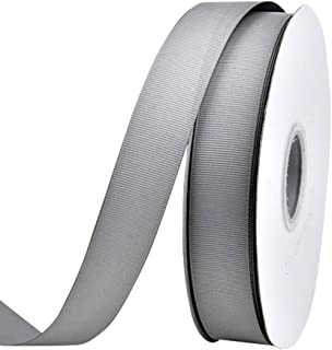 Ribest 1 inch 50 Yards Solid Grosgrain Ribbon Per Roll for DIY Hair Accessories Scrapbooking Gift Packaging Party Decoration Wedding Flowers Silver