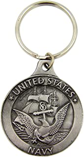 Fine Pewter United States Navy Saint Michael Medal Key Chain, 1 7/8 Inch