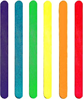 BEADNOVA Colored Craft Sticks Long Popsicle Sticks Natural Wood Craft Sticks Treat Sticks Wooden Popsicle Sticks for DIY Craft Creative Designs (4.5 Inch, 200 Piece, Mix Color)