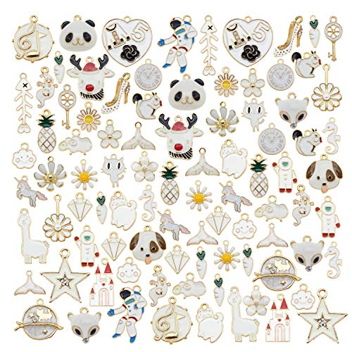 20-Pack White Enamel Paint Gold Metal Charms Bulk 2-3cm Earrings Bracelets Necklaces Pendants Craft Findings DIY Arts Projects Jewellery Making Accessories