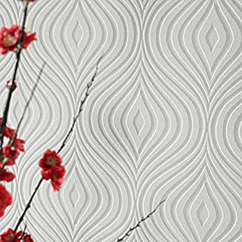 Graham and Brown 17583 Curvy White Paintable Wallpaper