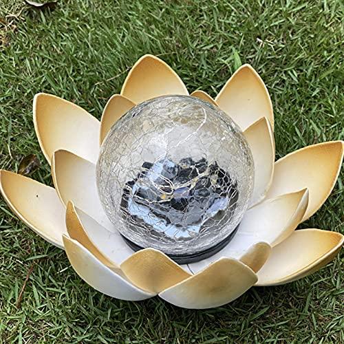 Lámpara LED Solar De Flor De Loto para Exteriores, Bola De Cristal Crujiente, Luces De Jardín, Luces Decorativas para Jardín, para Valla, Camino, Patio, Césped, Paisaje