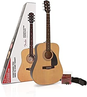Fender FA-115 Beginner Dreadnought Pack, Natural with Strings, Strap, and Picks