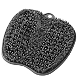 HONYIN Large Shower Foot Scrubber Mat - Cleans,Exfoliation,Massages Your Feet Without Bending, Foot Circulation & Relieve Tired Feet, Foot Scrubber for Use in Shower with Non-Slip Suction Cups - Gray