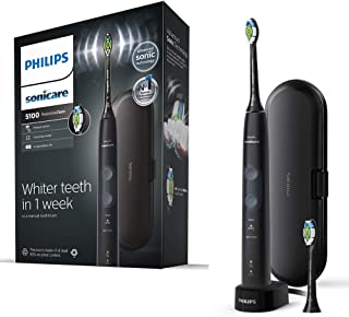 Philips Sonicare ProtectiveClean 5100 Electric Toothbrush, Black, with Travel Case, 3 x Cleaning Modes & 2 x Whitening Bru...