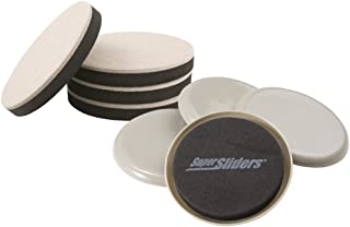 Super Sliders 8 Pack, Reusable and Self-Stick Furniture Sliding on Hardwood and Carpeted Floors, X-Large 7'' Round in Line...