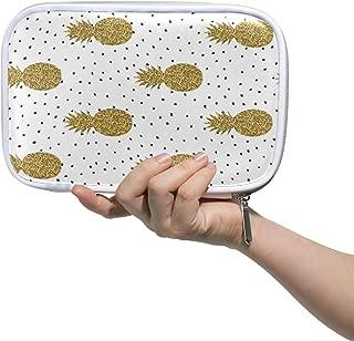 Bardic Pen Pencil Case Pineapple Polka Dot Print Makeup Brush Bag Travel Organizer Cosmetic Pouch Passport Holder for Men Women