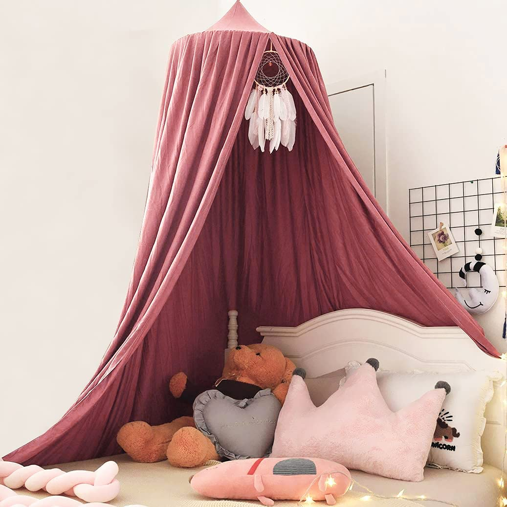 Kertnic Decor Canopy for Kids Bed, Soft Smooth Playing Tent Canopy Girls Room Decoration Princess Castle, Dreamy Mosquito Net Bedding, Children Reading Nook Canopies in Home (Red)