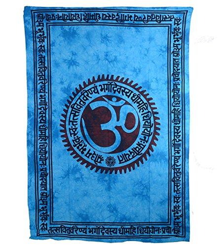 KUNST UND MAGIE Wandbehang Dekotuch Indien OM Mantra ca. 200 cm x 135 cm, Farbe:Türkis