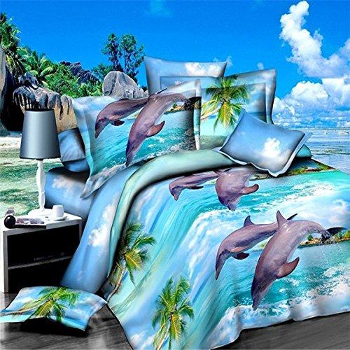 Bazaar 4pcs Polyester Fiber 3D Dolphin Ocean View Reactive Dyeing Bedding Sets Queen King Size Duvet Cover