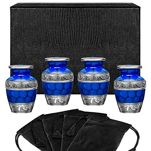 Forever Remembered Classic Blue Small Mini Cremation Keepsake Urns for Human Ashes - Find Peace and Comfort Everytime You Look At These Beautiful Urns - With Case and 4 Velvet Bags