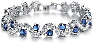 Bracciale con cristalli Swarovski e con 18carati placcati oro bianco–zaffiro, con cristalli blu