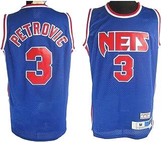 XSJY Baloncesto NBA Jersey - Brooklyn Nets # 3 Drazen Petrovic Retro Bordado Jersey, Unisex Sin Mangas del Ventilador del Deporte del Baloncesto Chaleco De La Tapa,M:170~175cm/65~75kg