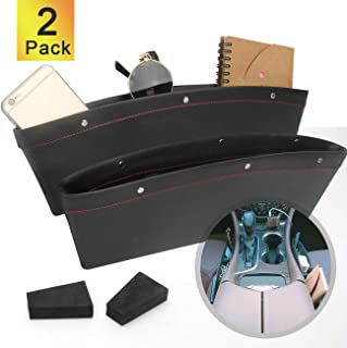 Coitak 2 PCS Car Seat Gap Organizer, PU Full Leather Car Seat Console Organizer, Black Car Seat Gap Filler