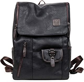 Oil Wax Leather Backpacks Western Style Mix Cow Leather Bag For Men Travel Zip Casual Backpack