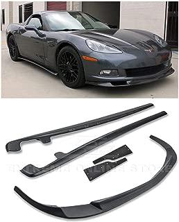Replacement For 2005-2013 Chevrolet Corvette C6 Base Models | EOS ZR1 Style ABS Plastic PRIMER BLACK Front Bumper Lower Lip Splitter With Side Skirt Panels Mud Flaps Pair