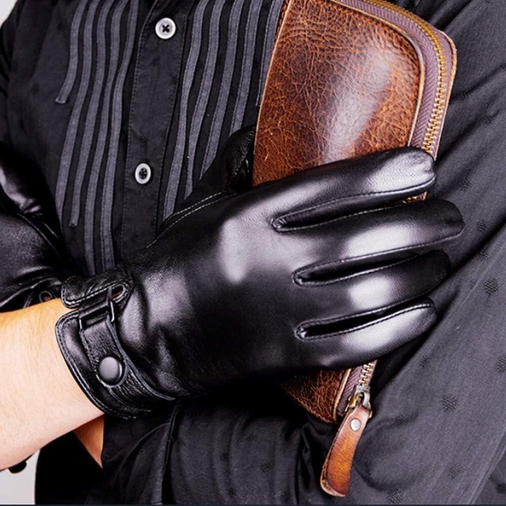 Men's gloves Men's Leather Gloves Driving Gloves Black Touch Screen Gloves for Men Fashion Brand Winter Warm Mittens Full Finger Winter Leather Gloves Touchscreen Texting Warm Lined Gifts Driving glov