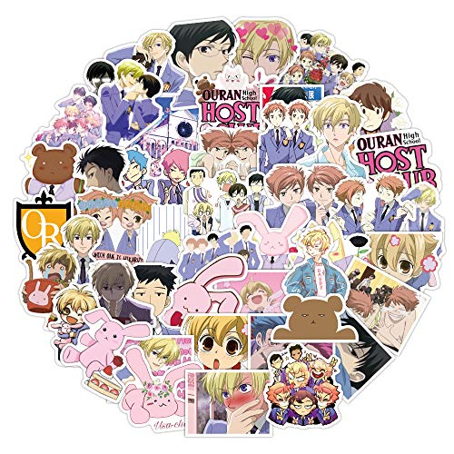 50Pc Ouran High School Host Club Vinyl Stickers Decals, Waterproof Stickers for Laptop Water Bottle Bike Skateboard Luggage Computer Hydro Flask Toy Snowboard. Gifts for Kids Girls Teens