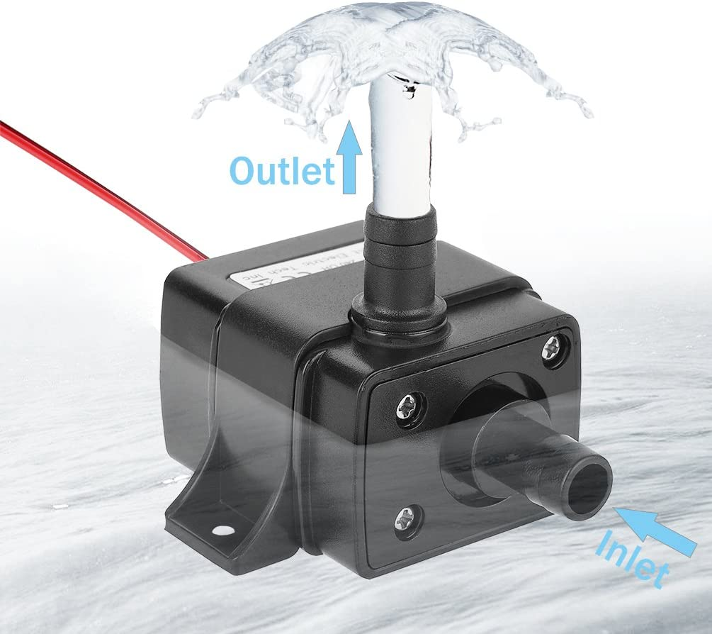 LEDGLE Mini Submersible Water Pump, Electric Brushless Fountain, Dual-Purpose Design for Aquariums, Fish Tank, Hydroponics, Aquaponics, Ponds Black 240L/H
