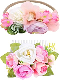 Mommy and Me Flower Crown Set Floral Headbands For Baby Girl Floral Bridal Boho Comb Photo Shoot Wedding Flower accessories