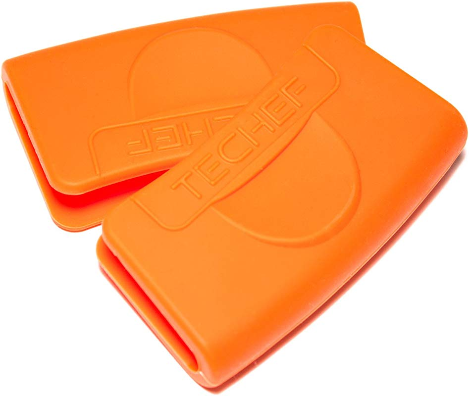 TECHEF Silicone Pot Holders Pinch Grips Oven Mitts Set Of 2 Orange Set Of 2