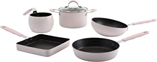 Bohemian by Denmark Tools for Cooks Mini Cookware Collection- Non Stick Aluminum Induction Ready, 5 Piece Pink Complete Mini Cookware Set
