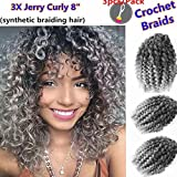 9 Bundles/Lot Eunice Marlybob Crochet Braids Hair Ombre Gray 8 Synthetic Kinky Curly Braiding Hair Extensions (8 inch, T1B/Gray)