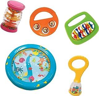 مجموعه ابزار اسباب بازی تولد 1 سالگی کودک - 5 دستگاه کوبه ای - شامل مینی شیکر رنگین کمان ، درام صداهای دریا ، ماراکاهای کودک ، بلکر ،