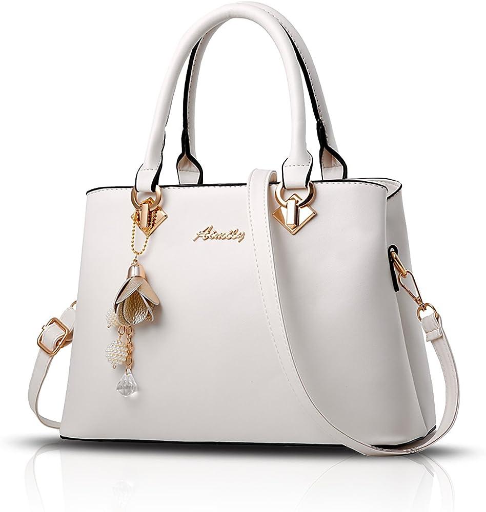 Sdinaz, borsa a mano/tracolla per donna, in pelle sintetica, bianca SK-DE34301