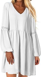 YOINS Vestido de Primavera para Mujer Manga Larga Casual Cintura Alta Túnica de Invierno Vestidos C-Blanco S