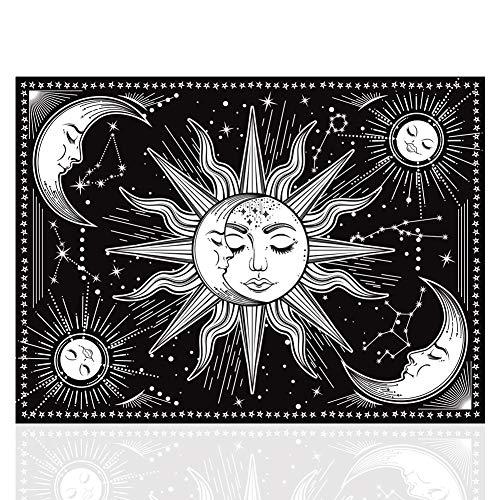FHYT Tapiz De Sol y Luna En Blanco Psicodélico Decoración Del Hogar Para Dormitorio 170g Colgar En La Pared (150 x 130 Cm)