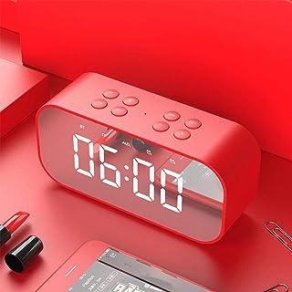 Mini Portable Wireless Bluetooth 5.0 Speaker, USB Charging Speaker, LED Liquid Crystal Mirror Clock, Bluetooth Call, Support TF Card/AUX,Red
