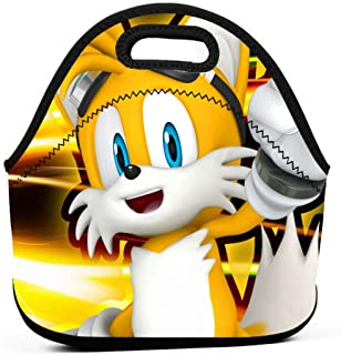 Cartoon Character Sonic Team Tail Insulated Lunch Bag Tote For Adult/Kids - Reusable Soft Neoprene Personalized Lunchbox Handbag For Work/School/Picnic