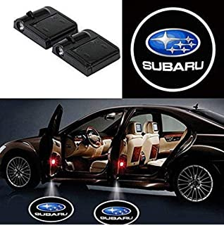 2Pcs Wireless Universal Car Projection LED Projector Door Shadow Light Welcome Light Laser Emblem Logo Lamps Kit No Drilling Required for Subaru