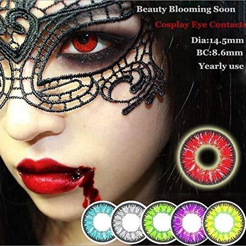 Farbige Kontaktlinsen Coloured Contact Lenses Crazy Halloween Coloured Cosmetic Makeup Cosplay lens (1 paar) (Red)