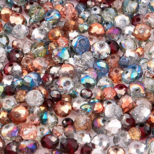 Lot de 400 perles de verre en forme de forêt enchantée - Mélange de perles de cristal - Argent, or rose, rouge foncé - Pour la fabrication de bijoux et les loisirs créatifs