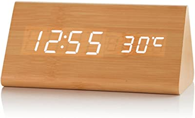 AISSION Alarm Clocks Reloj de madera luminosa LED Estudiante personalidad sencilla cabecera Retro Reloj despertador digital