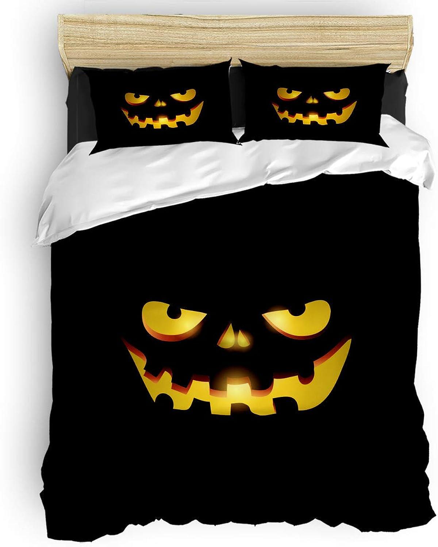 Halloween Pumpkin Lantern Face Twin Size, 4 Piece Bedding Set, Ultra Soft Microfiber Lightweight Microfiber Duvet