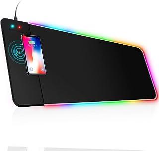 MrCuvaryas RGB Gaming Mauspad XXL LED Mousepad Großes 800 x 300 x 4mm 14 Beleuchtungsmodi mit 10W Schnellladung Qi Wireles...