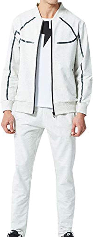 Men's Gym Contrast Jogging Full Tracksuit Hoodies Casual Joggers Set Zip Pocket Pants Sets Sport Suit