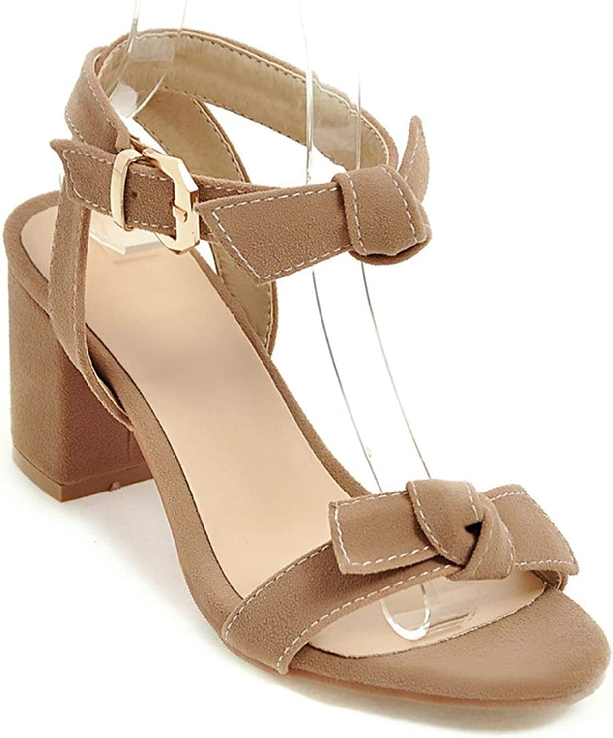 Big Size 33-45 Fashion Sweet high Heels Sandals Thick high Heels Buckle Solid color Sandals