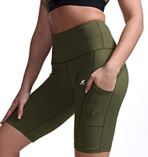 Kipro Women Yoga Shorts High Waist Leggings Workout Tights Shorts with Pockets