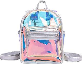 PRETYZOOM PU Holographic Backpack Bling Glitter School Bag Sling Crossbody Bag for Women Students Outdoor Travel Mini Rucksack (White)