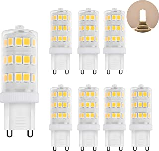 Zhzai G9 LED 3.5w Non-dimmable Non-Flicker 35w Halogen Equivalent 350LM AC110V Ceramic Base LED Bulb R80 Bi-Pin Daylight White 5000k Pack of 8